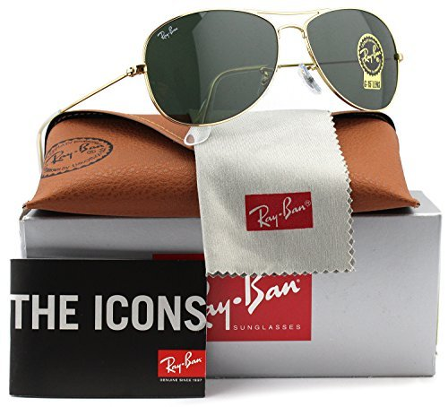Ray-Ban RB3362 Cockpit Sunglasses Shiny Gold w/Crystal Green (001) 3362 001 59mm - Polarized Ban Ray 3362