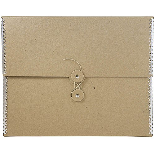 JAM PAPER Kraft Button and String Tie Portfolios - Medium Extra Wide - 9 1/2 x 12 x 2 3/4 - Brown with Metal Edge - Sold Individually ()