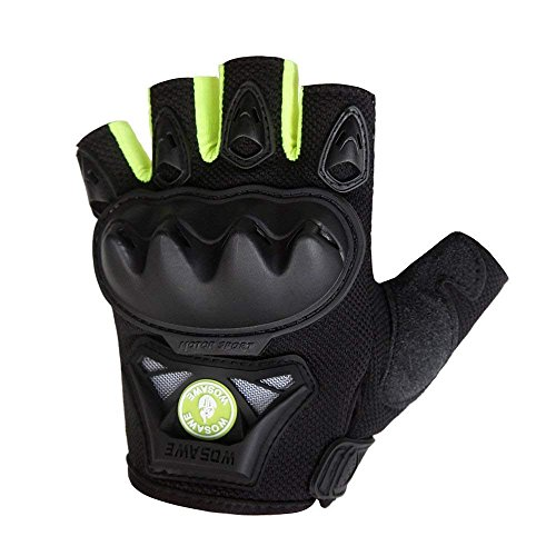 WOSAWE Motorcycle Gloves Outdoor Tactical Gloves, Green Fingerless, Size XL
