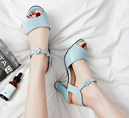 Sandales Orteils Arrière Femme Fleurs Bleu Bride Aisun Chic XTBCRnY