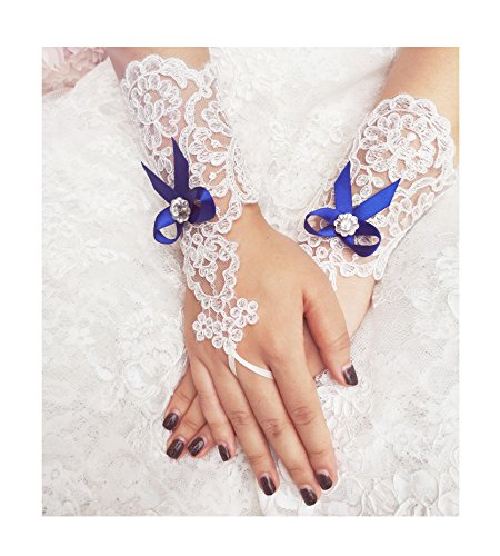 YuRong Lace Bridal Gloves Bow Wedding Gloves Rhinestone Gloves A15 (Royal blue)