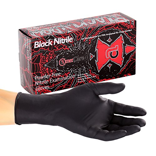 AmerCare Black Widow Powder Free, Nitrile Gloves, Extra