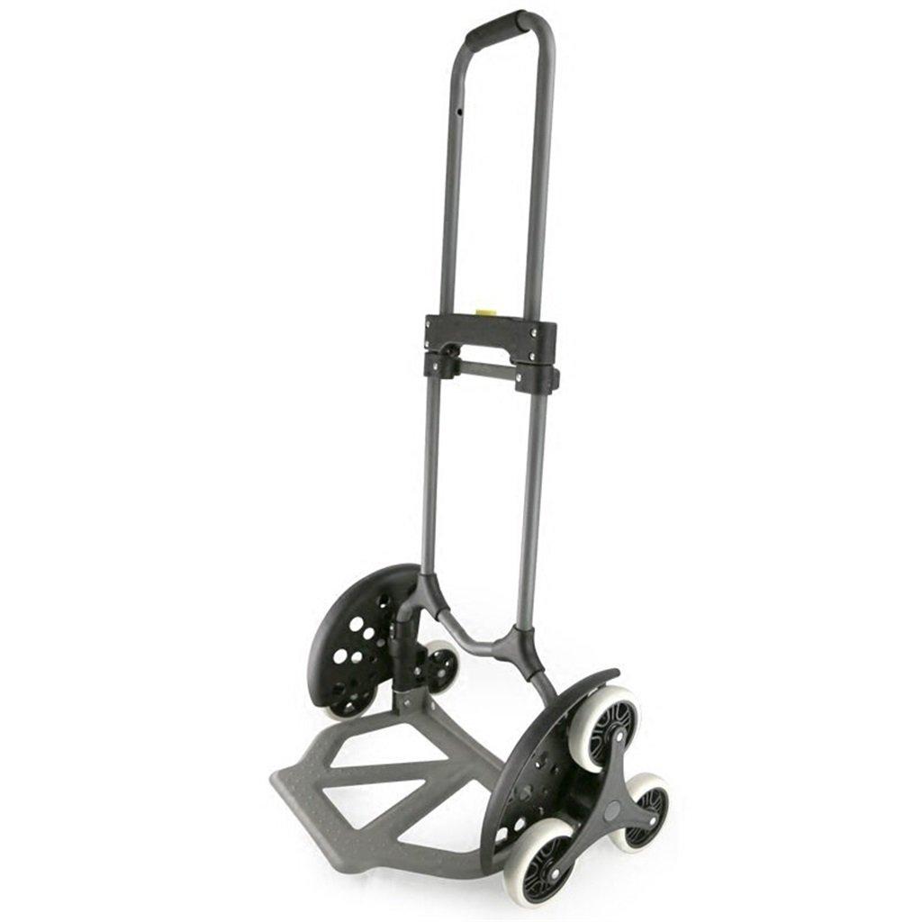 登る階段手荷物カートハンドトラックスチールショッピングカートミュートトロリー折りたたみヴァンプルポータブル小型6輪カートブラックロード3070 Kg 丈夫で持ち運びやすい (色 : Gray) B07FBFJYFC  Gray