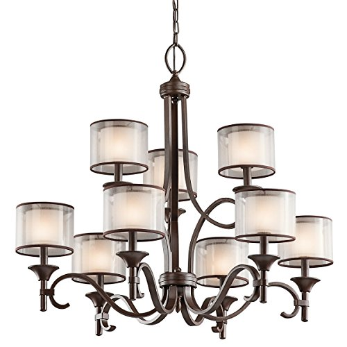 Chandeliers 9 Light With Mission Bronze Finish Candelabra Bulb 34 inch 540 Watts -