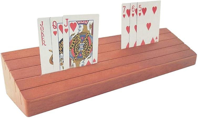 Soporte para Naipes, Soporte para Tarjetas de Madera, Juego clásico de Canasta Organizador de Tarjetas de póker para Tarjetas Exhibición para niños Juegos de Cartas para Personas Mayores: Amazon.es: Hogar