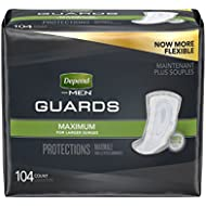 Depend Incontinence Guards for Men, Maximum Absorbency, (Packaging May Vary), Pack of 2