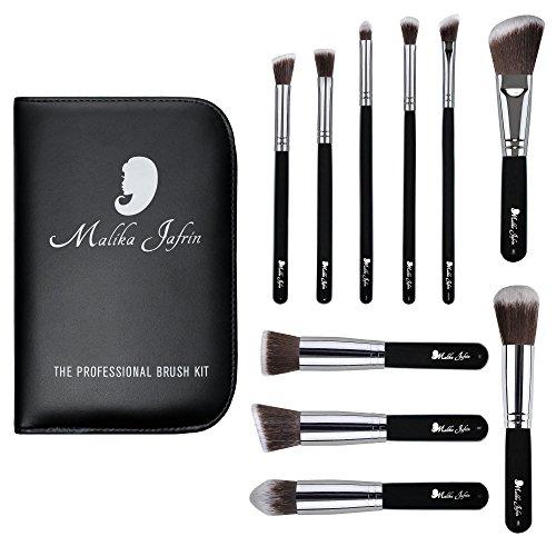 Designer Beauty Makeup Brush Set: Malika Jafrin 10 Piece Professional Kabuki Brushes For Face and Eye Blending, Contouring, Highlighting & Setting Powder – Angled, Round & Tapered Synthetic Bristles