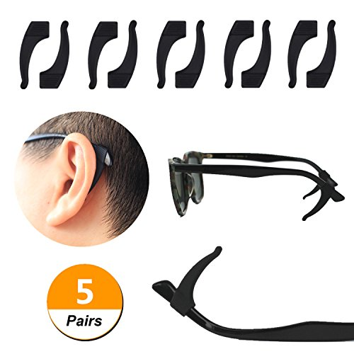 YR Anti-slip Soft Silicone Temple Tips Sleeve Retainer For Eyeglass Sunglass,5 Pairs (Arm Tips)