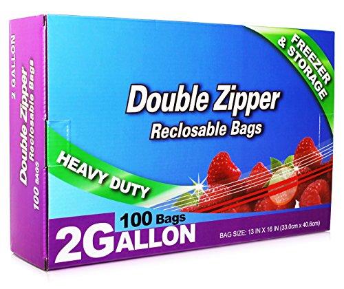 Zip Plastic Bags Lock Storage (Neaties Heavy Duty 2 Gallon Double Zip Lock Bags for Kitchen Or Storage, 13