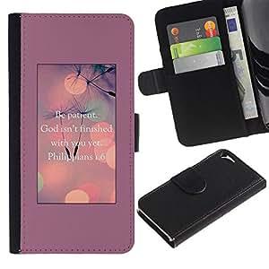 Planetar® Modelo colorido cuero carpeta tirón caso cubierta piel Holster Funda protección Para Apple iPhone 5 / iPhone 5S ( Dios inspirada motivación)