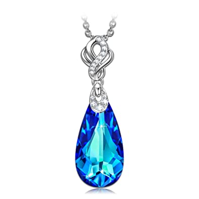 Kate Lynn Women Rhodium Plated Crystal from Swarovski Mermaid Tears Necklace Nickel Free Passed SGS test Fb3heCwxp
