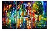painting a bedroom  - 3 Panels Modern Giclee Landscape Artwork Rainy Street Canvas Prints Wall Art Pictures Paintings for Bedroom Walls Stretched Frame Ready to Hang