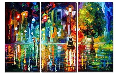 - Heronear Art - 3 Panels Modern Giclee Landscape Artwork Rainy Street Canvas Prints Wall Art Pictures Paintings for Bedroom Walls Stretched Frame Ready to Hang