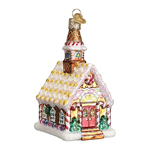 Old World Christmas Ornaments: Gingerbread Church Glass Blown Ornaments for Christmas Tree