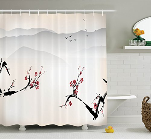 Asian Curtain (Ambesonne Asian Decor Shower Curtain Set, Japanese Nature Landscape with National Sakura Flower over Himalayas and Flying Gulls, Bathroom Accessories, 75 Inches Long, Beige Red Black)