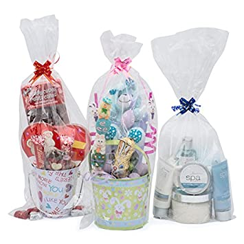 """12 Cellophane Gift Basket Bags - 9"""" wide X 20"""" inches Tall - Includes 12 Small Pull Bows: Amazon.ca: Health & Personal Care"""