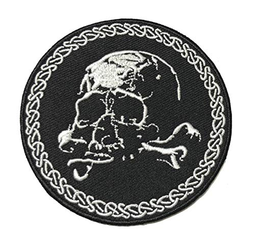 Skull Middle Finger Skeleton Bone Ghost Hog Outlaw Hot Rod Motorcycles Rider Lady Biker Jacket T Shirt Patch Sew Iron on Embroidered Badge Sign Costume DIY Appliques Application Patches -