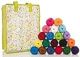 Mira Handcrafts 20 Acrylic Yarn Balls – Total of 875 Yards Knitting and Crochet Yarn – Multicolor Yarn in Reusable Storage Yarn Bag and 7 Ebooks with Yarn Patterns