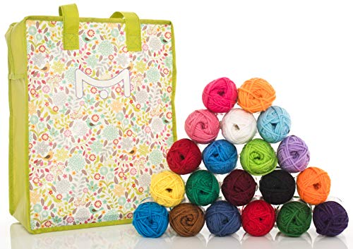 Mira Handcrafts 20 Acrylic Yarn Balls – Total of 875 Yards Knitting and Crochet Yarn – Multicolor Yarn in Reusable Storage Yarn Bag and 7 Ebooks with Yarn ()