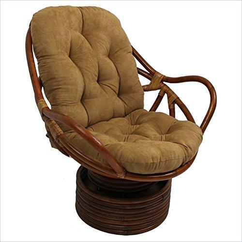 International Caravan 3310-MS-CM-IC Furniture Piece Rattan Swivel Rocker with Micro Suede Cushion by International Caravan