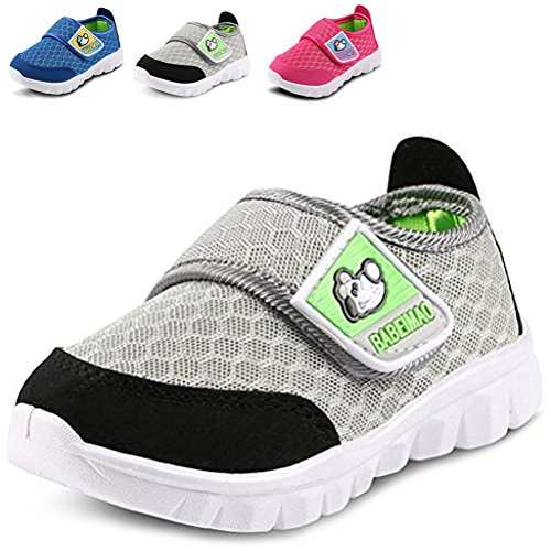 (LONSOEN Kid Mesh Sneakers Athletic Hook-and-Loop Light Weight Running Shoes(Toddler/Little Kid),Gray,KFL001 CN28)