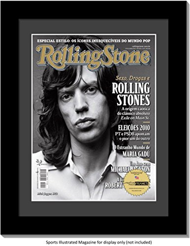(CreativePF [1214bk-b] Collectors Edition Rolling Stones Magazine Frame, Displays 1967 Thru 2016 Magazines Measuring 10.5 by 12.5-inches w/Black Matting and Wall Hanger)