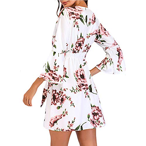 Swing Corte Vestido La Rodilla Ttdress primavera white Sobre l Mujer Discoteca Algodón wqITZXTt