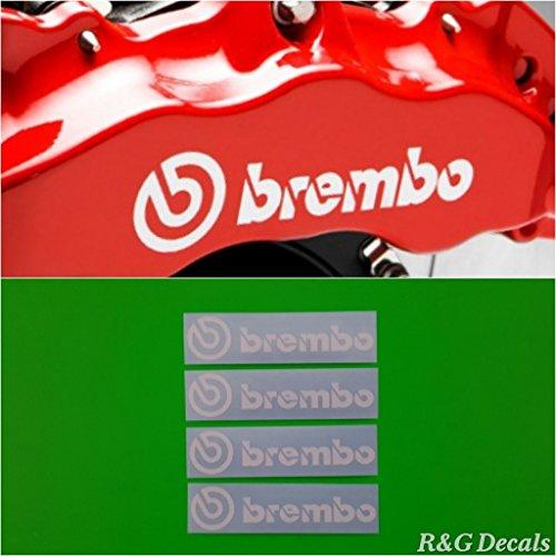 R&G Brembo HIGH TEMP Brake Caliper Sticker Set of 4 Decals - White Decal Set