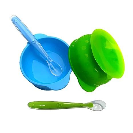 Tazones Silicona con ventosa para Bebés o Niños infantil,ventosa Cuenco y Cuchara de silicona,Antideslizante, Sin BPA, Apto para Microondas y ...