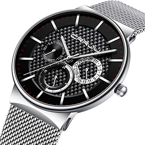 Mens Watch Ultra-Thin Case White Milanese Mesh Sub Dial Analogue Quartz Watch Calendar Waterproof Business Design Casual Dress Watch - White - Watches Mens Used