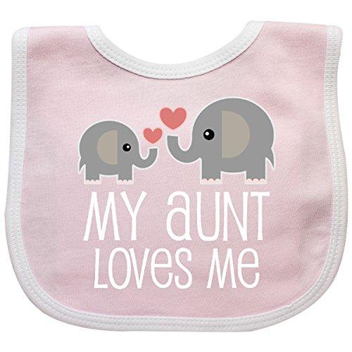 Inktastic - My Aunt Loves Me Niece Nephew Elephant Baby Bib Pink/White 2897d (Pink Bib Elephant Baby)