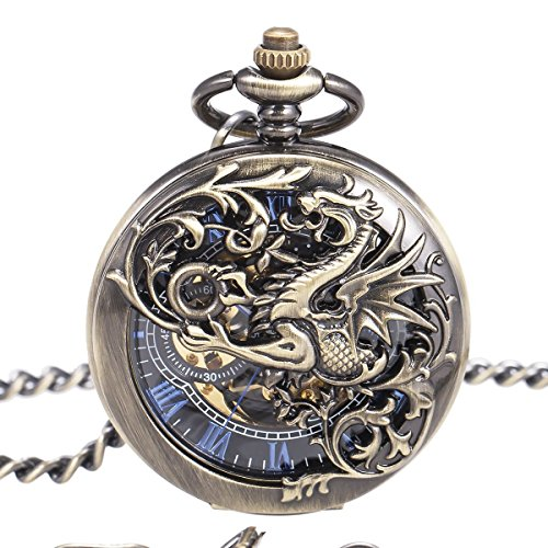 Mens Antique Brone Dragon Skeleton Mechanical Pocket Watch with Chain -Double Copper Dream Dragon Hollow Double Hunter ManChDa Blue Roman Numerals Black Dial (3.Bronze Dragon Hollow Double - Movement Skeleton