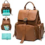 Diaper Bag by Mominside, Backpack Diaper Bag,Diaper Bag Backpacks for Women leather, Baby Bag Travel Backpack, Large Capacity with Insulated Pockets Changing Pad Stroller Straps Wipes Pouch, for Wet Clothes, Water Bottles (Brown)