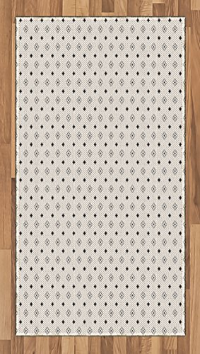 Geometric Area Rug by Ambesonne, Old Fashioned Wallpaper Design with Floral Like Geometrical Icons Art Print, Flat Woven Accent Rug for Living Room Bedroom Dining Room, 2.6 x 5 FT, Black and White - 5' Contemporary House