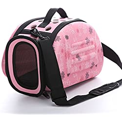 Foldable Pet Dog Carrier Cage Collapsible Travel Kennel - Portable Pet Carrier Outdoor Shoulder Bag for Puppy Dog Cat (S, Pink)