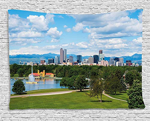 JAKE SAWYERS Urban Tapestry, City Park at Denver Colorado Downtown Tree Architecture Sunny Panorama, Wall Hanging Bedroom Living Room Dorm, 60 W X 40 L inches, Sky Blue Fern Green