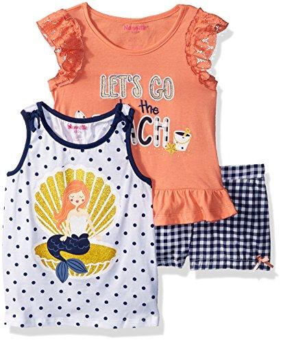 Nannette Girls' Little 3 Piece Short Outfit Set, Orange, 6X (Nannette 3 Piece)