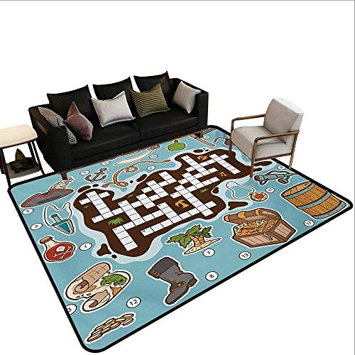 Non-Slip Floor mat,Kids Cartoon Game Grid Numbers Finding The Right Words Pirate Icons 6'x9',Can be Used for Floor ()