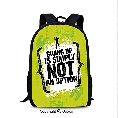 Personality Kids School Backpack, Giving Up is Simply Not an Option with Muscular, School Bag :Suitable for Men and Women, School, Travel, Daily use, etc.Apple Green Black White