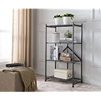 Kings Brand Gray Metal Home & Office Folding Storage Bookcase Organizer Display Unit, 4 Tier