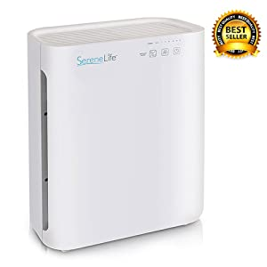 HEPA Filter Home Air Purifier - White Air Purifying w/ UV-C Sanitizer, Carbon, Pre Filters - Germ, Allergen, Dust, Smoke Remover for Pure, Cleaner Fresh Room Air - Safe for Kids - SereneLife PSLAPU35