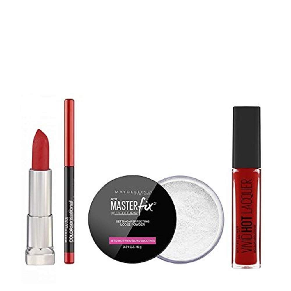 Maybelline Maybelline Killer Red Lip Kit 5 piezas Maquillaje Set para ella X L' Oreal 5021044120757
