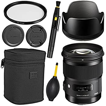 Image of Accessory Kits Sigma 50mm f/1.4 DG HSM Art Lens for Canon EF + Essential Bundle Kit + 1 Year Warranty - International Version (No Warranty)