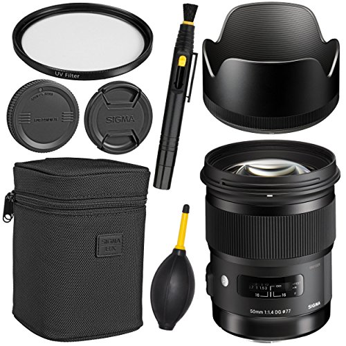Sigma50mm f/1.4 DG HSM Art Lens for Canon EF + Essential Bundle Kit + 1 Year Warranty - International Version (No Warranty)