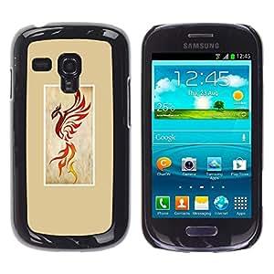 Caucho caso de Shell duro de la cubierta de accesorios de protección BY RAYDREAMMM - Samsung Galaxy S3 MINI NOT REGULAR! I8190 I8190N - Bird Dragon Yellow Poster