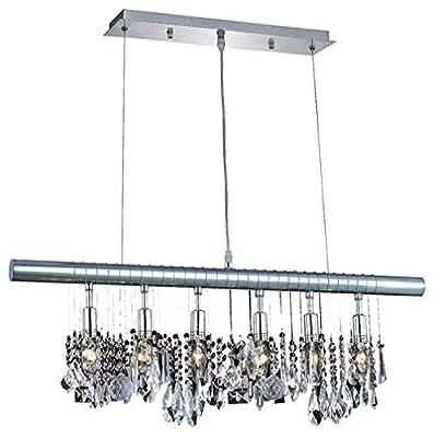 "Saint Mossi Modern K9 Crystal Linear Raindrop Chandelier Lighting Flush mount LED Ceiling Light Fixture Pendant Lamp for Dining Room Bathroom Bedroom Livingroom 6E12 Base H12"" x L 36"""