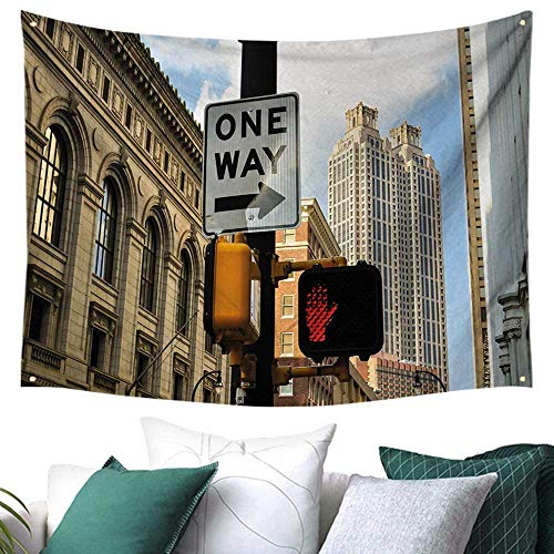 City Home Decor Tapestry One Way Sign in Front of Atlanta Skyline Downtown Apartments Urban View Restaurant/Shop Decoration 84W x 54L Inch Ivory Black Pale Blue