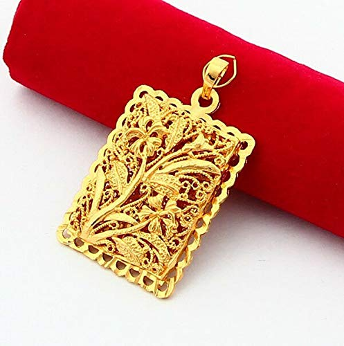 FidgetKute Fashion 24K Yellow Gold Plated Fancy Flower Rectangle Pendant for Necklace GZ013