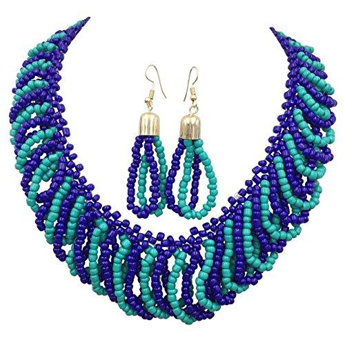 Multi Color Beads Teardrop Loops Designer Look Statement Necklace & Earring Set (Aqua & Navy - Set Beaded Cross Necklace