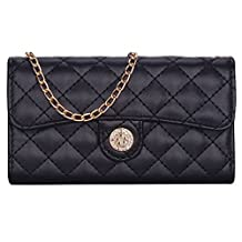 Samsung Galaxy Note 5 Cross Body Wallet Case, True Color® Premium Faux Leather Quilted Pattern Wristlet Wallet Folio Purse Clutch with Long Golden Chain and Magnetic Closure - Black